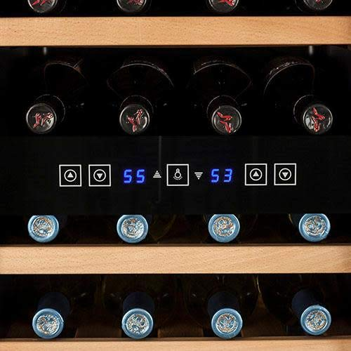 Koldfront TWR327ESS Enfriador de vino de doble zona independiente para 32 botellas - Negro y acero inoxidable