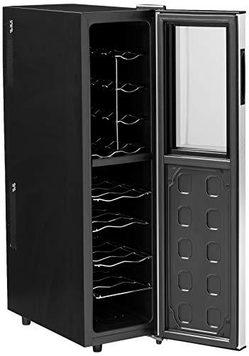 Wine Enthusiast Refrigerador de vino silencioso de 18 botellas - Enfriador de vino de almacenamiento vertical delgado y independiente, negro