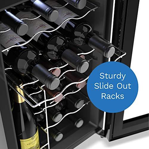 Enfriador de vino de 18 botellas hOmelabs - Refrigerador y enfriador independiente de una sola zona para vinos tintos y blancos