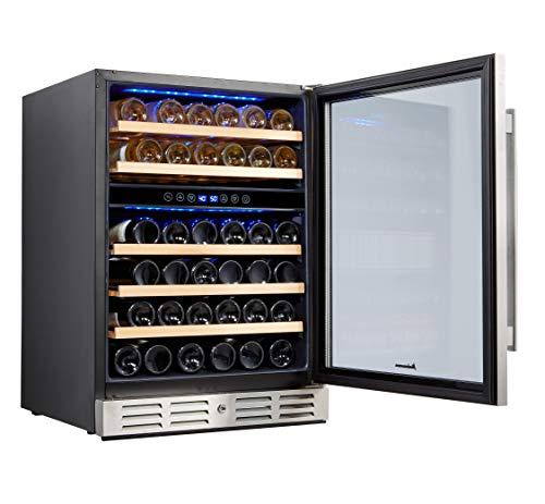 Kalamera - Refrigerador para vinos de 24 pulgadas, 46 botellas, de doble zona, empotrado o independiente con puerta de acero inoxidable y vidrio templado de triple capa y función de memoria de temperatura