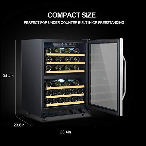 Enfriador de vino con compresor de doble zona incorporado de 44 botellas Lanbo, 24 pulgadas de ancho