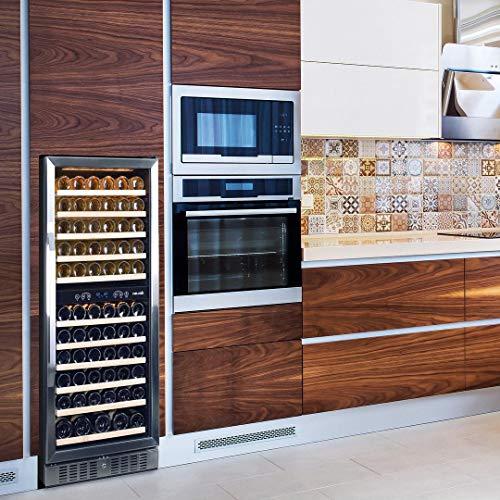 Enfriador de vino NewAir AWR-1160DB, 116 botellas, acero inoxidable / negro
