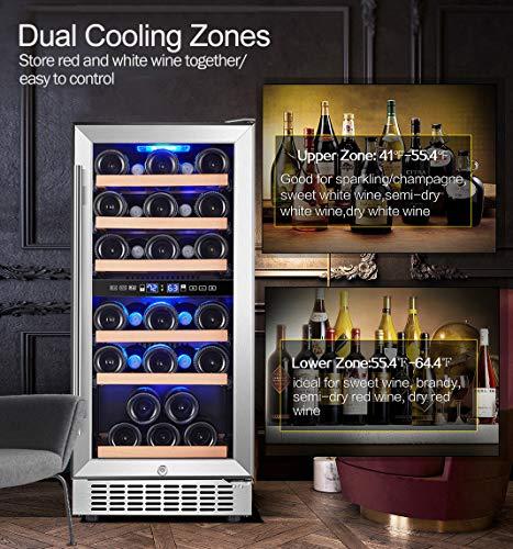 Enfriador de vino de doble zona, Aobosi, 15 pulgadas, 30 botellas, refrigerador de vino empotrado o independiente con aspecto moderno, sistema de enfriamiento rápido y silencioso, puerta de vidrio templado de doble capa, ventilación frontal