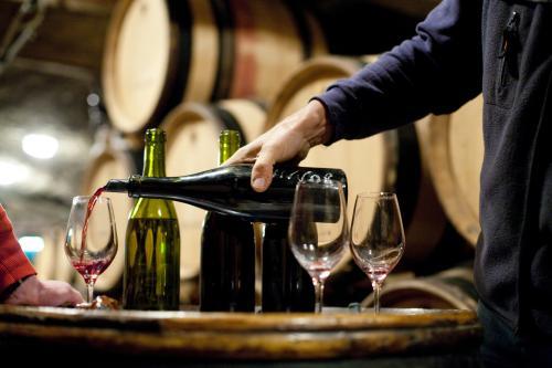 Verter vino en una bodega de Borgoña