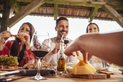 Reunión con vino y queso
