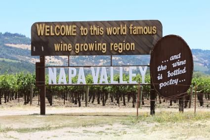 Bienvenido al cartel de Napa Valley