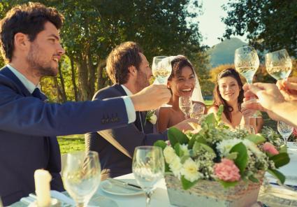 Brindis por la fiesta de bodas en la recepción