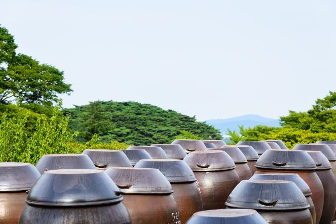 Vasijas de vino de arroz crudo (Makgeolli)