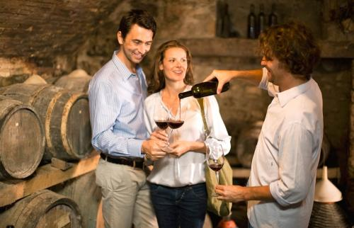 Gente catando vino