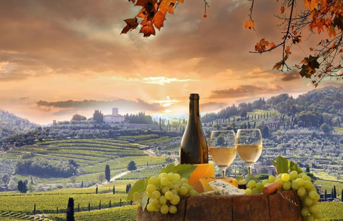 Bodegón de vino en Chianti, Toscana, Italia