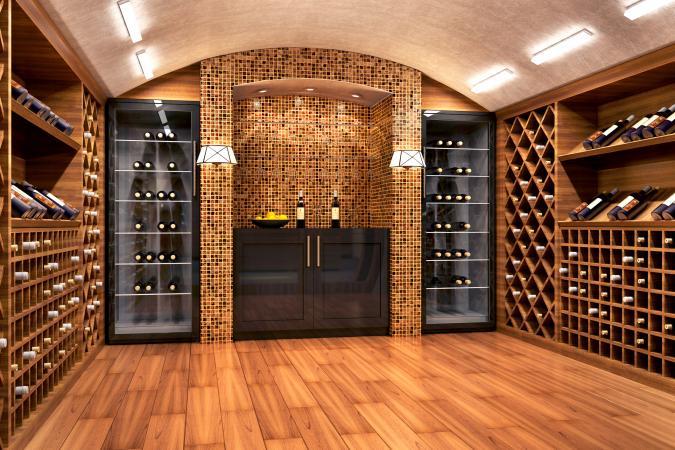 Botellas de vino en una moderna bóveda de vino