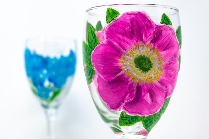 Copas de vino pintadas