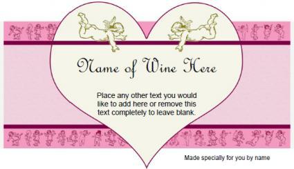 Etiqueta de vino Cupidos y corazones