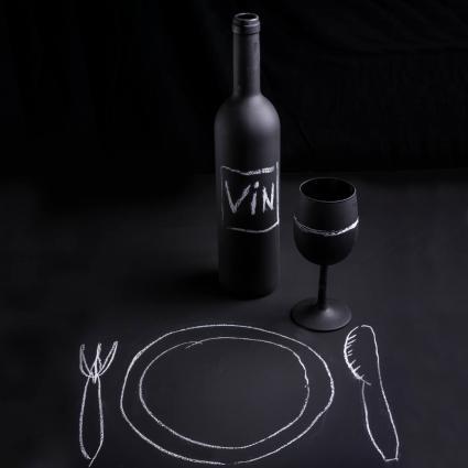 Botella de vino de pizarra