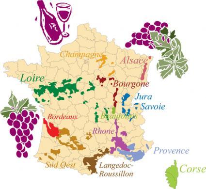 Mapa de las regiones vinícolas francesas;  © Martine Oger |  Dreamstime.com