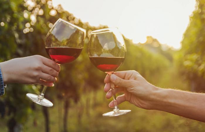 tintineo de copa de vino tinto