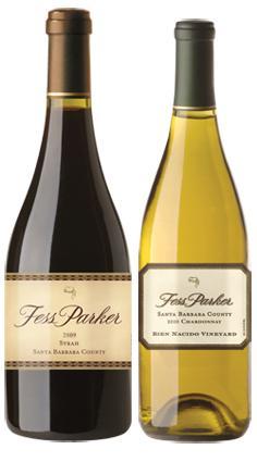 Botellas de vinos tintos y blancos Fess Parker